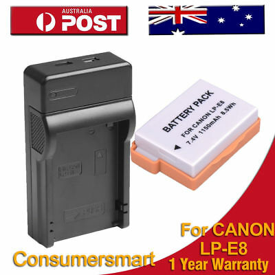 LP-E8 Battery and Charger For Canon EOS 550D 600D 650D Kiss X4 X5  NEW PACK AU