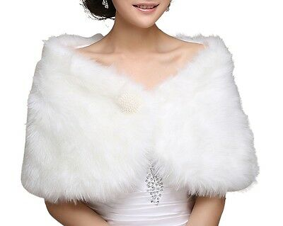 Central Chic Womens Faux Fur Wrap Cape Stole Shawl Bolero Jacket Coat Shrug