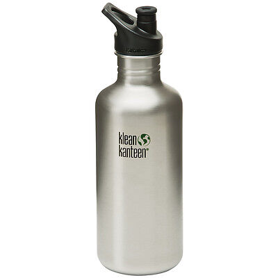 Klean Kanteen Classic 1182ml Water Bottle with Sport Cap Camping Brush Stainless