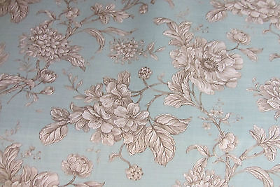 Loire French Reverse  Floral  Toile de Jouy Sea Spray Curtain/Craft Fabric