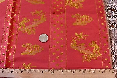 "French Antique Silk Brocade Chinoiserie Sample Fabric c1900~26""LX21""W"