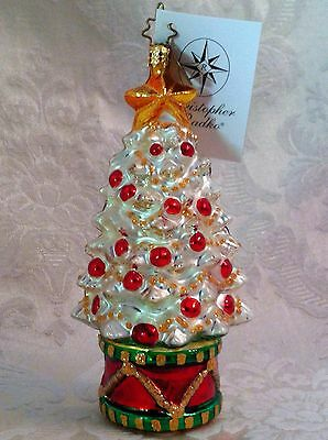 Radko White Red Gold Christmas Tree Ornament Blown Glass Rhythm And Spruce W Tag