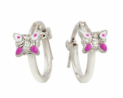 925 Sterling Silver Girls/Childs Pink Butterfly Hoop Earrings - Made In Italy