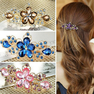 New Fashion Women Jewelry Crystal Rhinestone Flower Hair Barrette Clip Hairpin