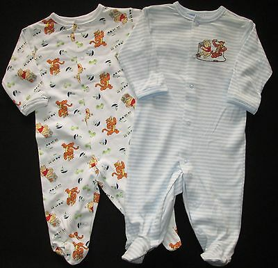 WINNIE THE POOH Baby Boys Romper Bodysuit Onesie Twin Pack Size 000 00 0 NEW