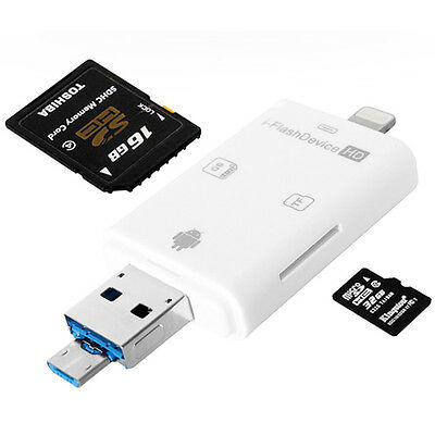 iFlash Drive External TF/SD Memory Card Reader for iPhone 5S 6 7 Android Samsung
