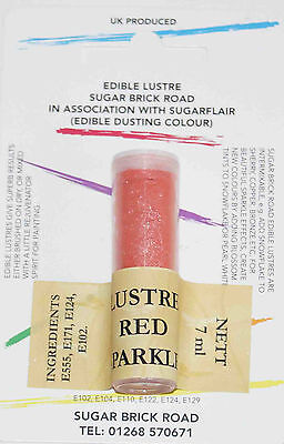 Sugarflair Red Sparkle Lustre Dust Powder 7ml Edible Sparkly Food Colour Tint