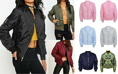 Ladies Girls Womens Bomber Jacket Classic Style Zip Up Biker Vintage Jacket