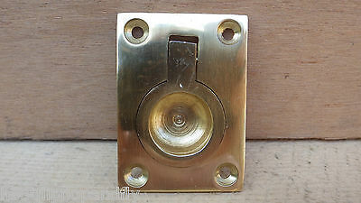 POLISHED BRASS SMALL RECTANGULAR FLUSH RING PULL HANDLE FINGER 53mm x 38mm