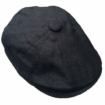 G & H Linen Black Newsboy 8 Panel Peaky Blinders Style Summer Flat Cap Hat