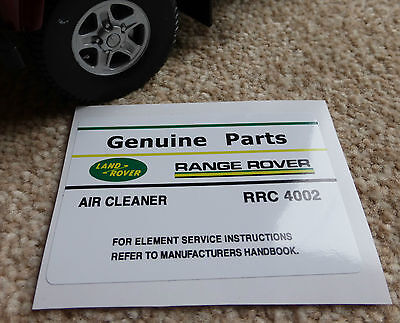 Air Cleaner Decal Label Information RRC4002 Land Rover Discovery Range Classic