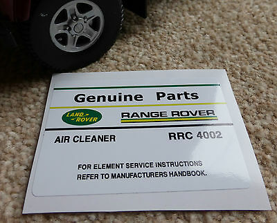 Land Rover Discovery Range Classic Air Cleaner Decal Label Information RRC4002