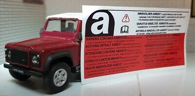 Land Rover Discovery Defender 90 110 Asbestos Warning Decal Label Badge BTR389