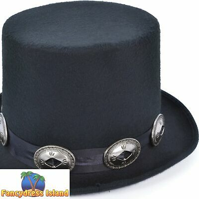 80S SLASH ROCKER STEAMPUNK VICTORIAN BUCKLES TOP HAT mens fancy dress accessory