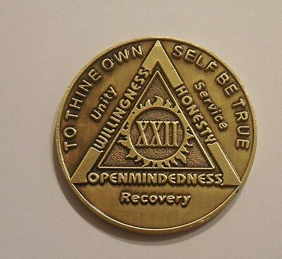 aa bronze alcoholics anonymous 22 year sobriety chip coin token medallion