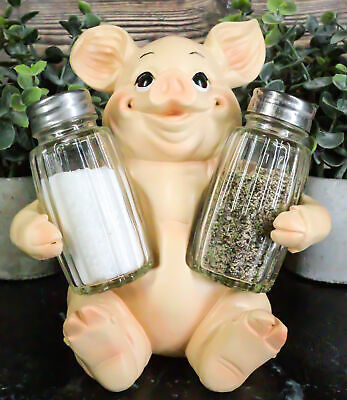 "Cute Babe Pig Porcine Spice Salt and Pepper Shaker Large 6.75"" Tall Home Decor"