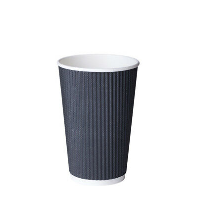 500x Paper Coffee Cup Triple Wall Black Charcoal Twist 485ml/16oz Disposable NEW