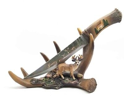Buck Display Knife on Antler Stand with Deer Figurine and Stainless Steel Blade