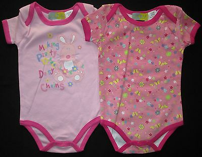 Baby Girls Romper Bodysuit Toddler Twin 2 Two Pack Set Pink Print Size 0 1 NEW
