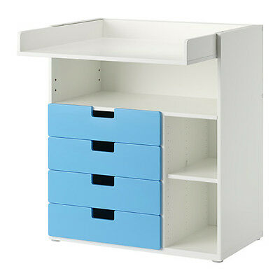 2 in 1 Changing Table With Drawers Kids Desk Children's Furniture (White/Blue)