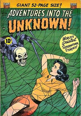 Adventures Into the Unknown 33 Comic Book Cover Art Giclee Repro on Canvas