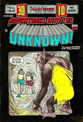 Adventures Into The Unknown 57 Comic Book Cover Art Giclee Repro on Canvas