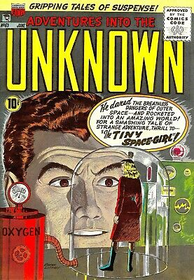 Adventures Into The Unknown 63 Comic Book Cover Art Giclee Repro on Canvas