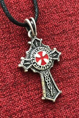 Knights Templar Pendant Order Knight  Medieval SCA Gold Plated Crusade Necklace