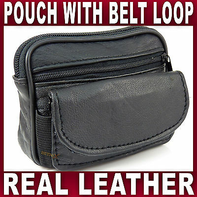 Black Soft LEATHER BELT POUCH 2 zipped pockets travel taxi bus bag Gents Ladies