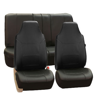 Deluxe PU Leather Highback  Seat Covers Front Back Seat Black For Car Truck
