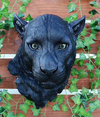 "Black Ghost Panther Wildlife Wall Plaque Statue Hunter Home Figurine 17"" Tall"