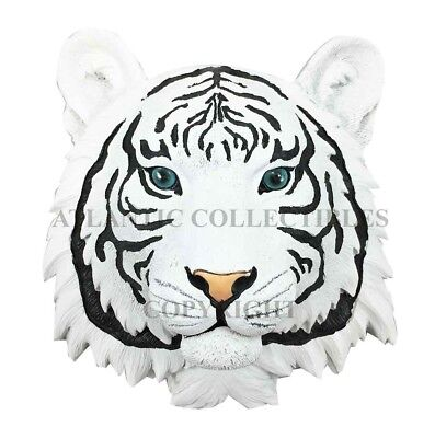 White Tiger Hunter Wildlife Resin Wall Plaque Statue Home Decor Collectibles