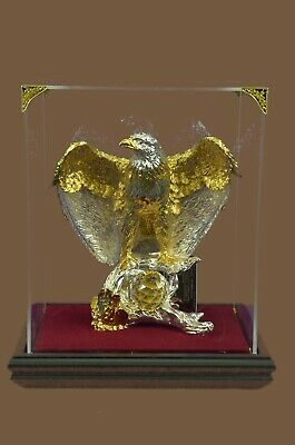American Bald Eagle 24KT GOLD  SILVER Plated Bronze Statue Sculpture Glass Case
