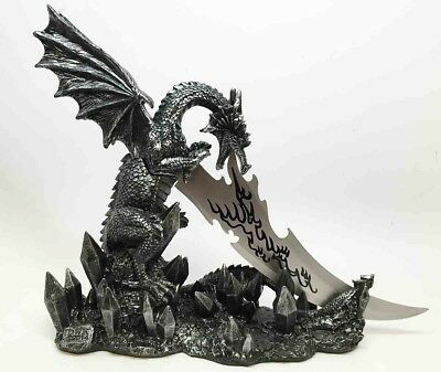 Medieval Dragon Fire Breathing Dagger Knife with Stand Figurine Collectibles
