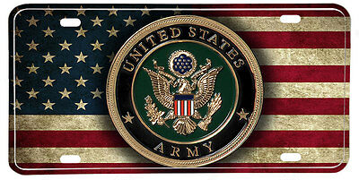 US Army NOVELTY License Plate - Distressed American Flag & Seal