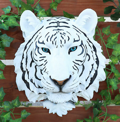"White Tiger Head Mount Wall Statue Bust Figurine 16"" Height Wild Life"