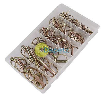 50 Pc Sprung Lynch Pins Tractor Digger Trailer Horsebox Lorries Linch Ring Clip