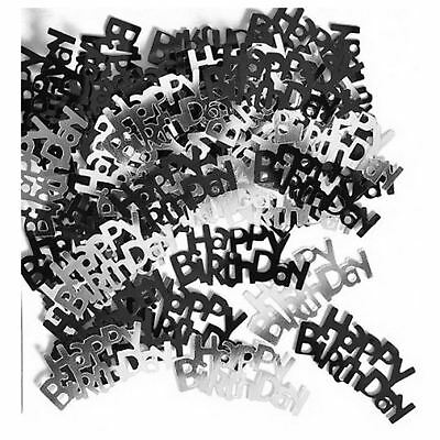 Happy Birthday Party Table Decoration Black And Silver Sprinkles Confetti 14g