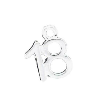 Number 18 Charm/Pendant Tibetan Antique Silver 13mm  5 Charms Accessory Crafts