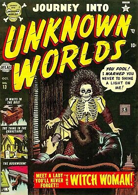 Journey Into Unknown Worlds 13 Comic Book Cover Art Giclee Repro on Canvas