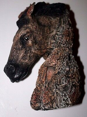 Tree Carved Look 3D STALLION HORSE HEAD WALL HANGING Bust Figure 1994 AVERY