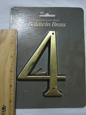"Baldwin 90674-030 5"" House Number '4' POLISHED BRASS New in Package!"