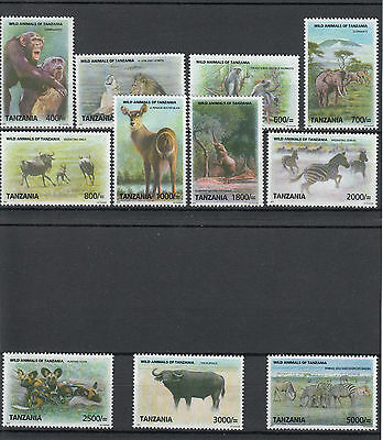 Tanzania 2010 MNH Wild Animals Definitives 11v Set Lion Gnus Zebras Elephants