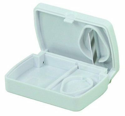 Pill Tablet Medication Storage Box With Tablet/Cutter Splitter (White)