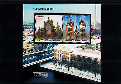 Canouan Grenadines Vincent 2014 MNH Fall Berlin Wall German Architecture 2v SS