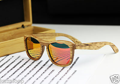 Wood Bamboo Square Zebra frame Red mirror Sunglasses Polarized with BOX