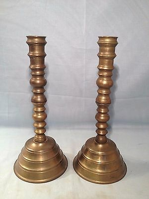 Vintage Ww2 Trench Art Candle Holders Pair Us Navy Brass Casings