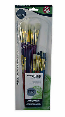 Daler Rowney Simply Artists Choice Set of 25 Natural & Synthethic Paint Brushes