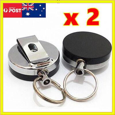 2x Metal Retractable Pull Chain Key Ring Steel Holder Reel Recoil Belt Clip Snap