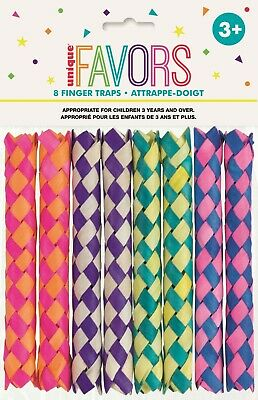 8 Chinese Bamboo Finger Traps Party Favour Birthday Treat Loot Bag Toys NEW